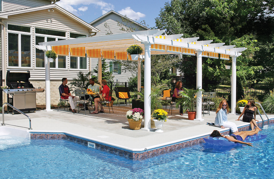 The architectural beauty of a covered pergola and the shade of a