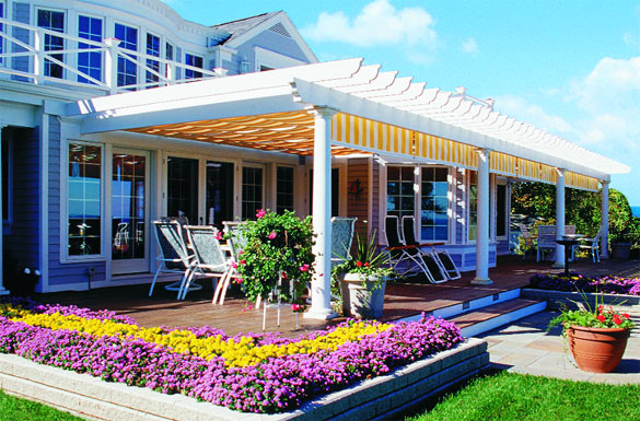 Large Pergola with Yellow / White Striped Canopies